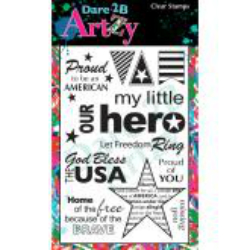 "Dare 2B Artzy Clear Stamps 4""X6"" Sheet My Hero"