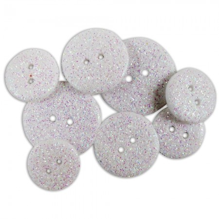 Favorite Findings Glitter Buttons - Frost Opaque
