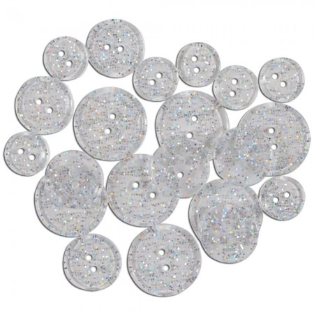 Favorite Findings Glitter Buttons - Clear Sunshine Transparent