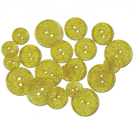 Favorite Findings Glitter Buttons - Yellow Sunshine Transparent