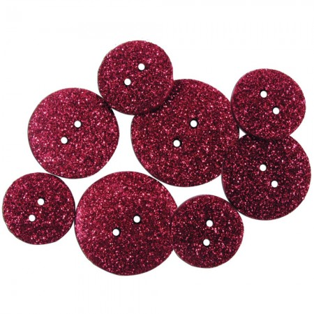Favorite Findings Glitter Buttons - Cerise Opaque knapper