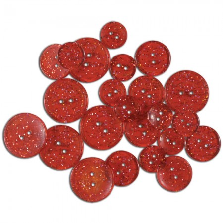 Favorite Findings Glitter Buttons - Red Glimmer Transparent Knapper