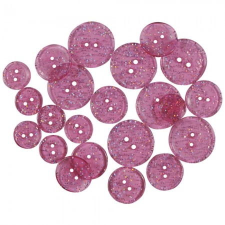 Favorite Findings Glitter Buttons - Pink Twinkle Transparent glimmer knapper
