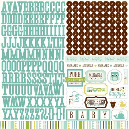 Echo Park Cardstock Stickers - Alpha - Bundle Of Joy Boy