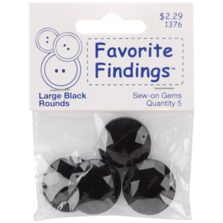 Favorite Findings Round Gems – Large Black