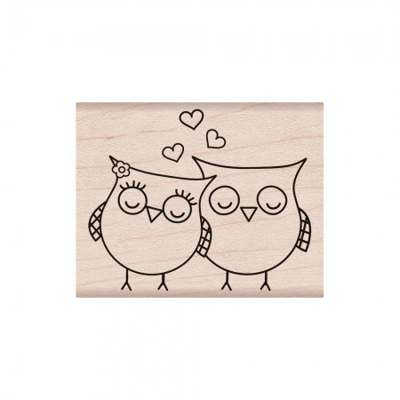 Hero Arts - Wood Mounted Rubber Stamps - Heart Owls