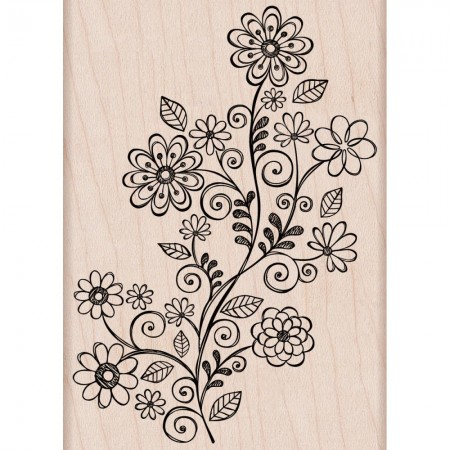 Hero Arts Mounted Rubber Stamp - Flower Swirl Vine