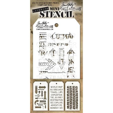 Tim Holtz - Layering stencil - Mini Set 15 - MTS015