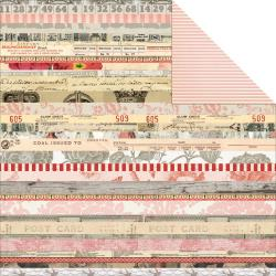 My Mind´s Eye – Lost & Found 3 – Ruby Collage Stripe Paper