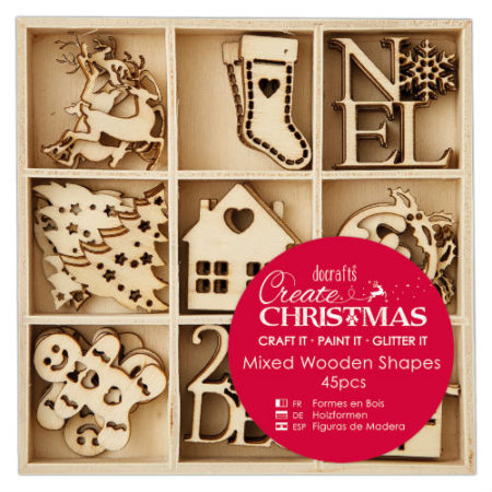 Papermania Træpynt – Create Chrismas - Mixed Wooden Shapes - Julefigur