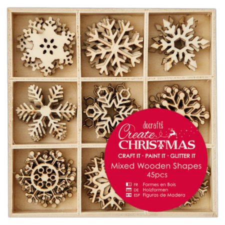 Papermania Træpynt – Create Chrismas - Mixed Wooden Shapes