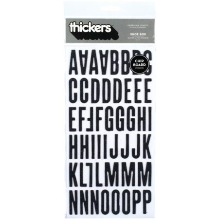 Thickers Chipboard Glitter Stickers 2/Pkg - Shoe Box - Black - 42881