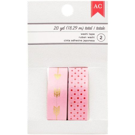 American Crafts Valentine Washi - Pink W/Dots & Pink W/Arrows