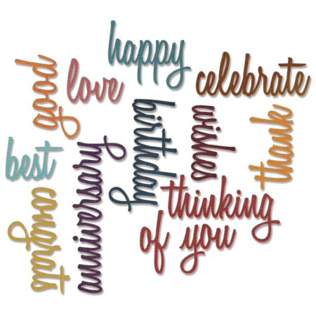 Sizzix - Thinlits Dies - Celebration Script Words - 660223