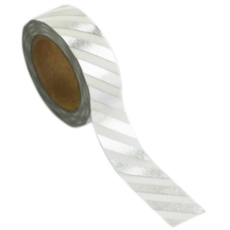 Love My Tapes Foil Washi Tape  - Silver/White Diagonal Stripe