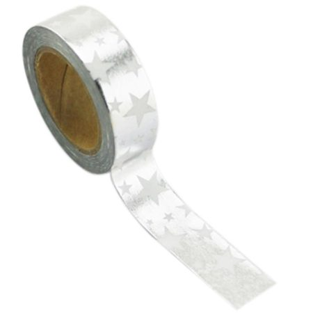 Love My Tapes Foil Washi Tape  - Silver W/Stars