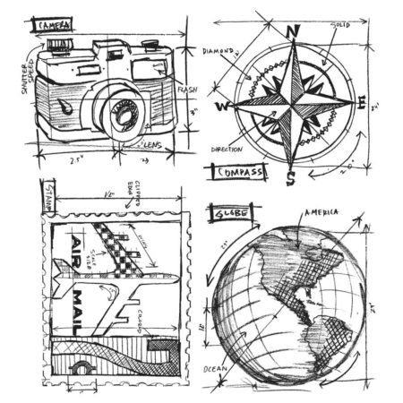 Tim Holtz – Cling Stamps set – Travel Blueprint CMS148