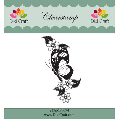 Dixi Craft - clear stamp - Butterfly & Flowers - STAMP0094
