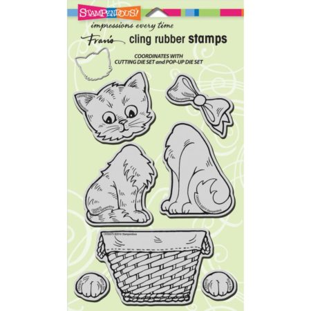 Stampendous - Cling Stamp - Pop Up Kitties - CRS5075