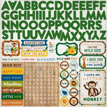 Echo Park - Cardstock Stickers - Jungle Safari - Alpha - JS117015
