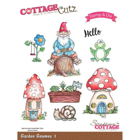 CottageCutz - Stamp & Die Set - Garden Gnomes 1 - CCS-015