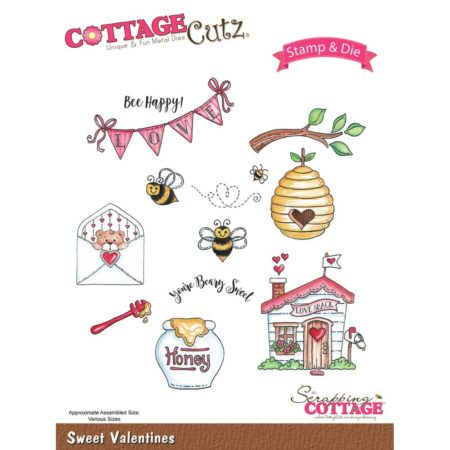 CottageCutz - Stamp & Die Set - Sweet Valentines - CCS-018