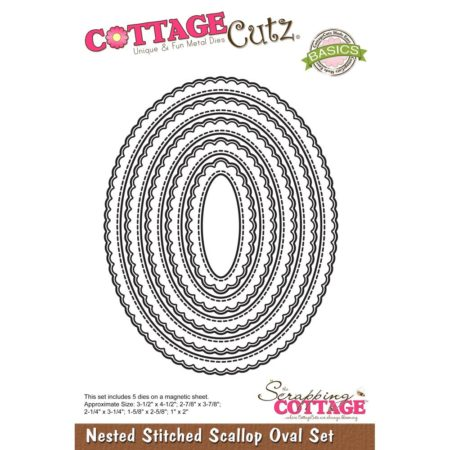 Cottage Cutz - Nested Stitched Scallop Oval - CCB-064