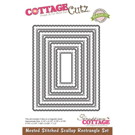 Cottage Cutz - Nested Stitched Scallop Rectangle - CCB-065