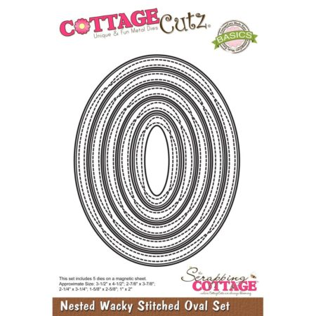 Cottage Cutz - Nested Wacky Stitched Oval - CCB-070