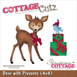 Cottage Cutz Die - Deer W/Presents - CC4X4-588