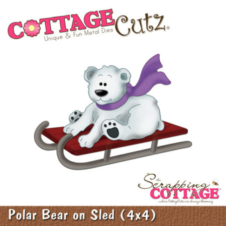 Cottage Cutz Die - Polar Bear on Sled - CC4X4-135