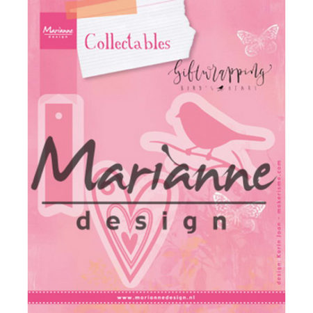 Marianne Design - Giftwrapping – Karins bird, hearts & tag - COL1443