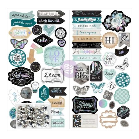 Prima - Zella Teal Self-Adhesive Chipboard - 595517