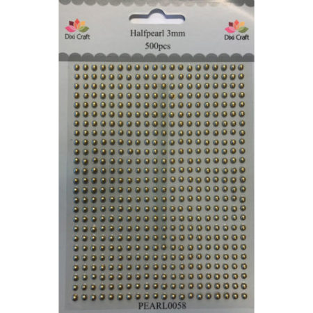 Dixi Craft - PEARL 3 mm - Guld - Halvperler - PEARL0058