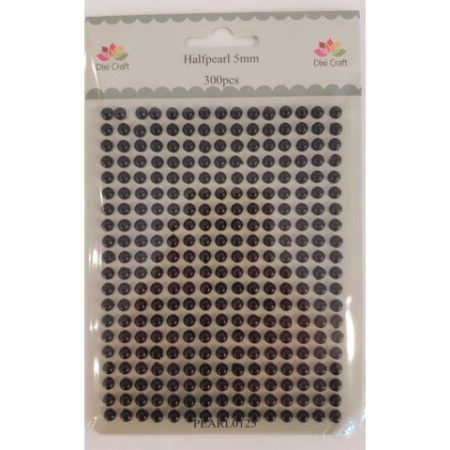 Dixi Craft - PEARL 5 mm - Sort - Halvperler - PEARL0125