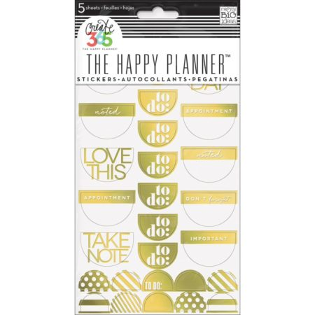 Happy Planner - Create 365 Stickers - To Do, Gold Foil