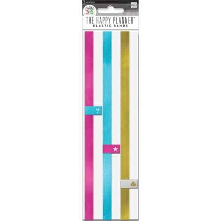 Happy Planner - Create 365 - Elastic Bands - Pink, blue & Gold