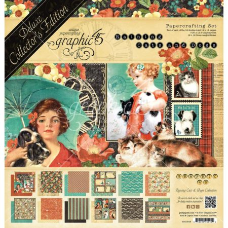 Graphic 45 - Double-Sided Paper Pad - Raining Cats & Dogs