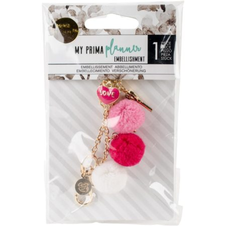 My Prima Planner Pom Pom Key Chain Adornment - Raspberry Kisses