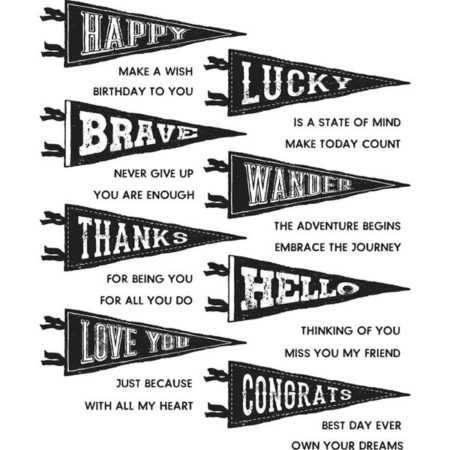 Tim Holtz Cling Stamps - Pennants - CMS330