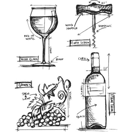 Tim Holtz - Cling Stamps - Wine Blueprint - CMS333