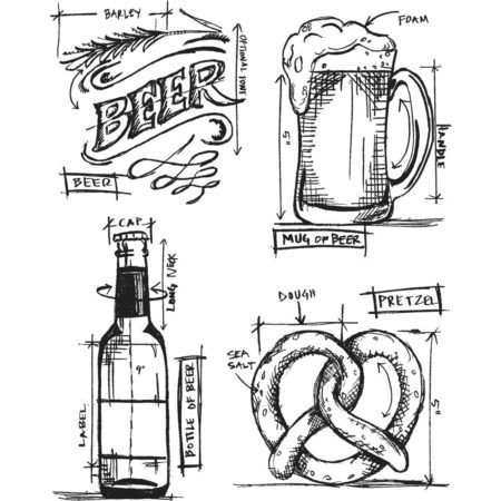 Tim Holtz - Cling Stamps - Beer Blueprint - CMS334
