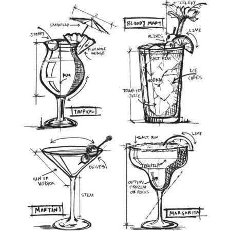 Tim Holtz - Cling Stamps - Cocktails Blueprint - CMS335