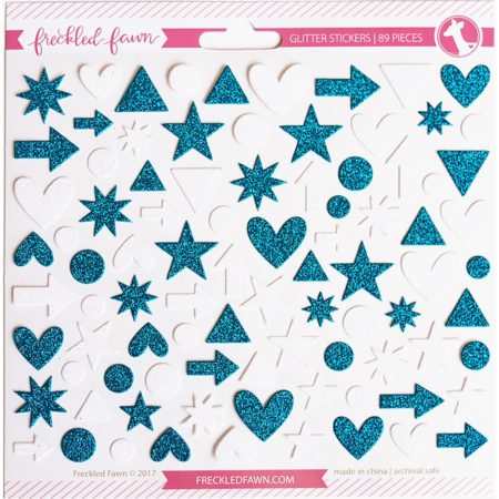 Freckled Fawn Stickers - Glitter - Blue & White