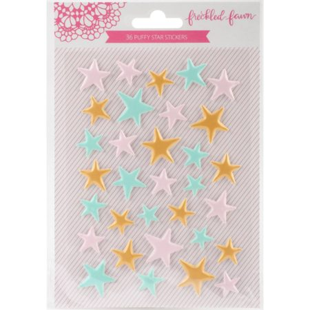 Freckled Fawn Puffy Stickers - Matte Pink, Mint & Gold Stars - PS03