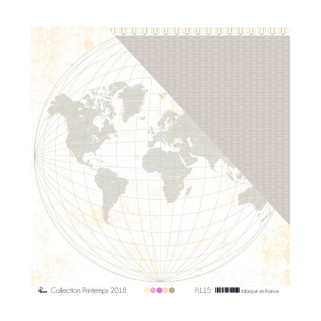 4ENSCRAP Paper - Taupe world map on white background - Pi115