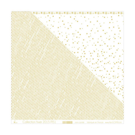 4ENSCRAP Paper - Gold Stripes on White Background - P151