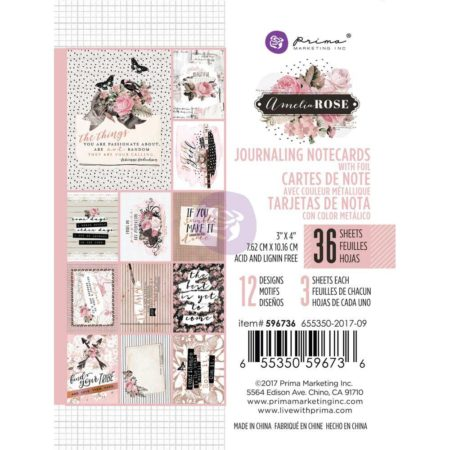 Prima Marketing - Journaling Cards Pad 3x4 - Amelia Rose - 596736