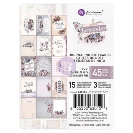 Prima Marketing - Journaling Cards Pad 3x4 - Lavender - 630126