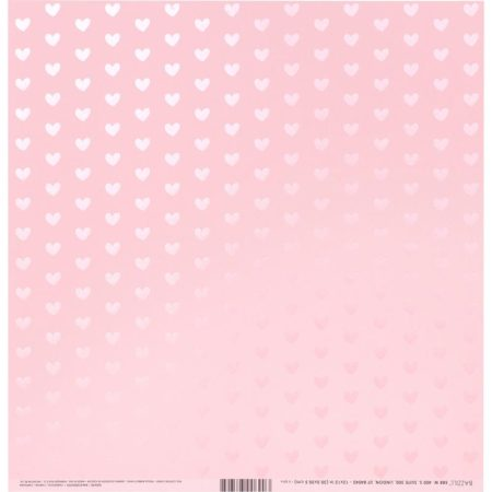 Bazzill Foiled Pattern - Heart W/Pink Pearl, Cotton Candy